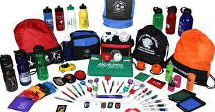 A large assortment of custom printed pronotional items